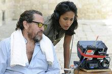 Julian Schnabel und Rula Jebreal bei den Dreharbeiten; Foto: Prokino Filmverleih