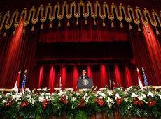Barack Obamas Rede an der Cairo University; Foto: AP