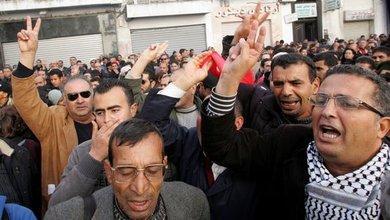 Proteste gegen das Ben Ali-Regime in Tunesien; Foto: dpa