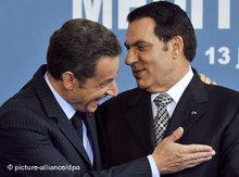 Tunesischer Ex-Präsident Ben Ali und französischer Präsident Nicolas Sarkozy; Foto: dpa