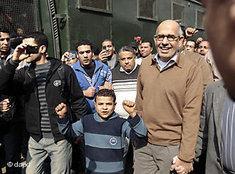 Mohammed El-Baradei auf einer Demonstration in Kairo; Foto: dpa