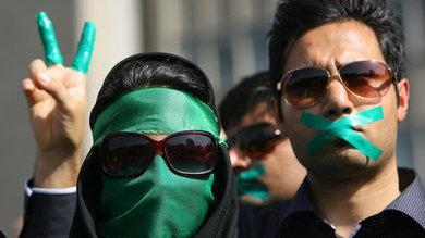 Anhänger der grünen Protestbewegung im Iran; Foto: AP