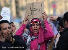Proteste gegen Mubarak in kairo; Foto: dpa