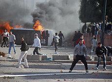 Ausschreitungen am 20. Februar 2011 in Marakesch; Foto: dapd