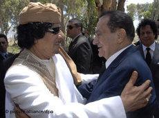 Treffen von Mubarak und Gaddafi in Tripoli 2010; Foto: dpa