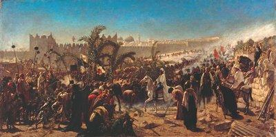 Wilhelm Gentz - Einzug des Kronprinzen Friedrich Wilhelm von Preußen in Jerusalem (1876); Foto: bpk/Gemäldegalerie, Staatliche Museen zu Berlin.