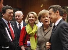 Barroso, Merkel und Sarkozy auf dem EU-Gipfel in Brüssel am 11. März 2011; Foto: dapd