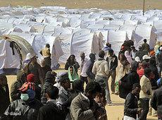 Zeltlager an der libysch-tunesischen Grenze; Foto: dapd