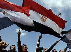 Demonstranten schwenken ägyptische Fahnen in Kairo; Foto: dapd