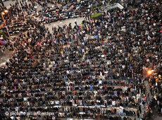 Gebet von Muslimen auf dem Tahrir-Platz in Kairo während der Aufstände; Foto: AP