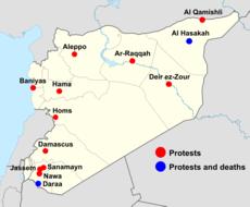 Karte der März-Proteste in Syrien; Quelle: Wikipedia