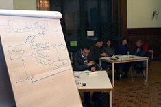Flipchart mit Politikmodellen im Debattierclubn Alexandria; Foto: Goethe Institut