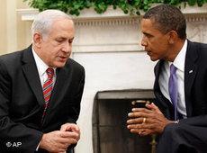 Obama und Netanjahu in Washington während der Nahost-Friedensgespräche vom September 2010; Foto: AP