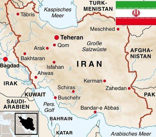 Karte Irans; Foto: dpa