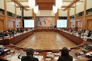 Der 6. Arabisch-Europäische Menschenrechtsdialog im Weltsaal des Auswärtigen Amts; Foto: Amélie Losier/Deutsches Institut für Menschenrechte