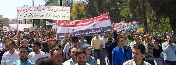 Demonstartion gegen das Assad-Regime in Homs; Foto: AP
