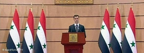 Fernsehansprache Baschar al-Assads vom 20.06.2011; Foto: dapd