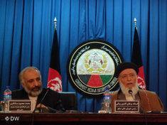 Der Friedensrat unter dem Vorsitzenden Burhanuddin Rabani (rechts); Foto: DW