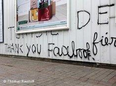 Straßen-Graffiti in Tunis: Thank you Facebook; Foto: Thomas Rassloff/DW