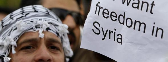 Demonstrant vor der syrische Botschaft in Zypern; Foto: dapd
