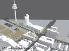 A simulation of the mosque and its immediate environment (source: Türkisch-Islamische Union Köln)