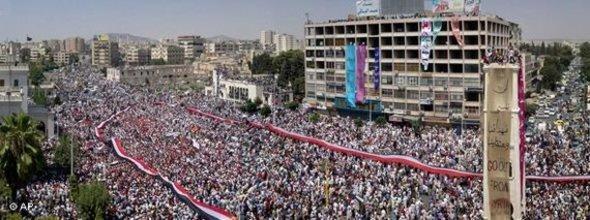 Demonstrations against Assad's regime in Hama (photo: AP)