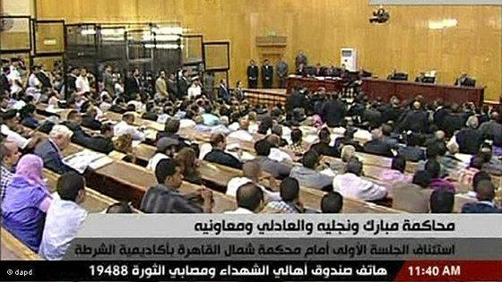 TV-Übertragung des Mubarak-Prozesses in Kairo; Foto: Egyptian State TV/AP/dapd