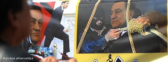 Plakat mit Mubarak am Galgen; Foto: dpa