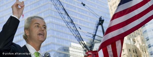 Geert Wilders bei seiner Rede am Ground Zero; Foto: dpa