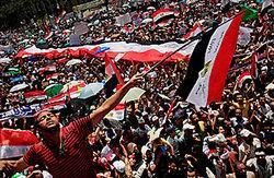 Demonstration gegen das Mubarak-Regime auf dem Tahrir-Platz in Kairo; Foto: AP