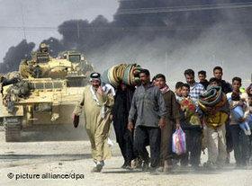 Britische Truppen in Basra 2003, Foto: dpa