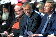 Kardinal Marx, Sant Egidio-Gründer Riccardi und Präsident Wulff bei der Gedenkfeier zu 9/11 während des internationalen Friedenstreffens; Foto: © Erzbistum München