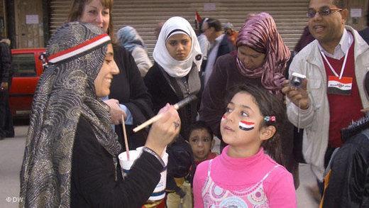 Frauen in Kairo während der Proteste gegen Mubarak; Foto: Samir Grees/DW