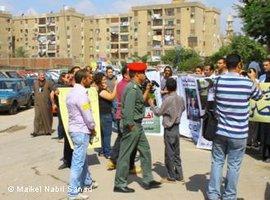 Solidaritätskundgebung für Maikel Nabil Sanad vor dem Militärgericht in Kairo; Foto:  Maikel Nabil Sanad