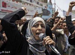 Tawakkul Karman während einer Kundgebung gegen Präsident Saleh in Sana'a; Foto: dapd