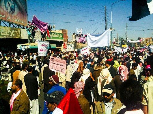 Demonstration in Sana'a gegen Präsident Saleh; Foto: wikipedia