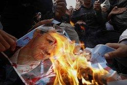 Regime-Gegner verbrennen Assad-Bild; Foto: dapd