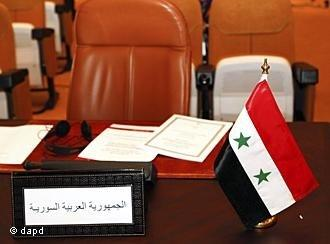 Leerer Stuhl Syrines beim Treffen der Arabischen Liga in Rabat; Foto: dapd
