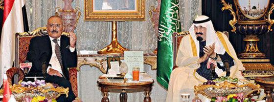 Jemens Präsident Saleh (links) und König Abdullah von Saudi-Arabien; Foto: dpa