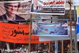 Wahltransparente politischer Parteien in Kairo; Foto: dpa