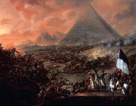 Schlacht bei den Pyramiden am 21. Juli 1798 - Gemälde Francois-Louis-Joseph Watteaus; Foto: wikipedia