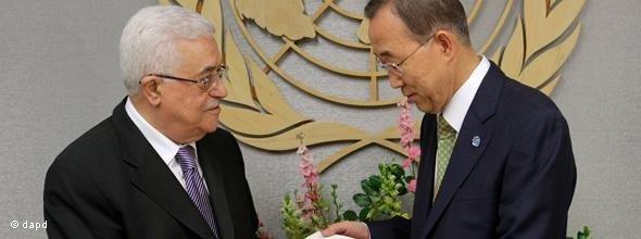 Palästinenserpräsident Abbas und UN-Generalsekretär Ban Ki-moon währen der 66. Sitzung der Generalversammlung der Vereinten Nationen; Foto: dapd