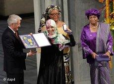 Tawakkul Karman nimmt Friedensnobelpreis entgegen; Foto: dapd