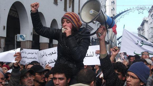 Marokkanische Anführerin bei Protesten vom 20. Februar; Foto: DW