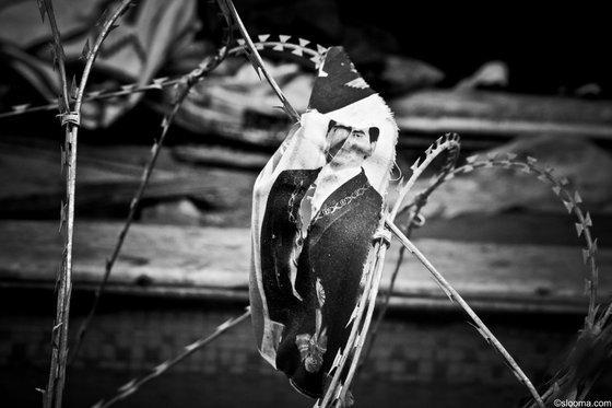 An einem Stacheldraht aufgespießtes Bild von Tunesiens Ex-Diktator Ben Ali; Foto: © Selim Harbi