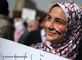 Demonstrantin auf dem Tahrirplatz in Kairo; Foto: dpa