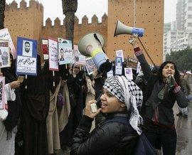 Protest von marokkanischen Frauen in Rabat; Foto: ddp/AP