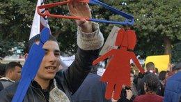 Demonstrant in Tunis; Foto: DW/S. Mersch
