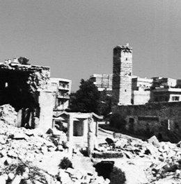Die Stadt Hama nach den Angriffen von Regierungstruppen im februar 1982; Foto: wikipedia