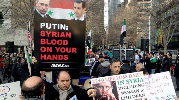 Demonstration von Assad-Gegnern vor dem UN-Sitz in New York; Foto: dpa